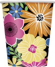 8 Luau Summer Bold Blooms Paper Party Cups
